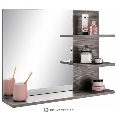 Gray wall mirror with shelf (whole, sample hall)