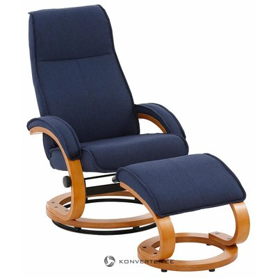 The blue swivel armchair stinks