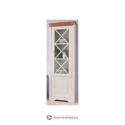 Тумба-витрина из массива дерева коричнево-белого цвета (с дефектами, холл. Образец)