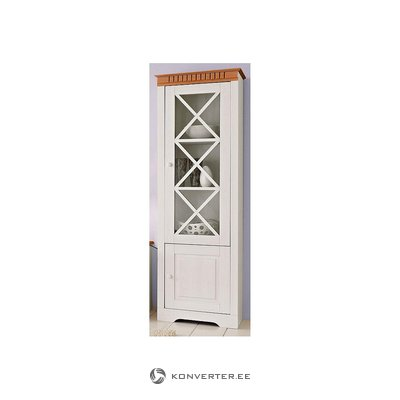 Brown and white solid wood display cabinet (whole, in box)
