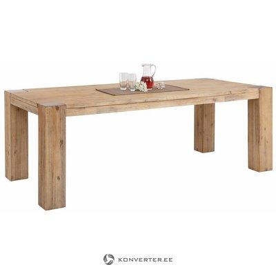 Didelis šviesiai rudas pietų stalas iš akacijos medienos (220 cm pločio) (maggai) (sveikas, dėžutėje)