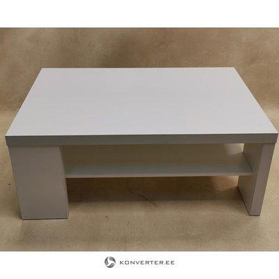 Balts kafijas galdiņš ar plauktu (skaistumkopšanas defekti)