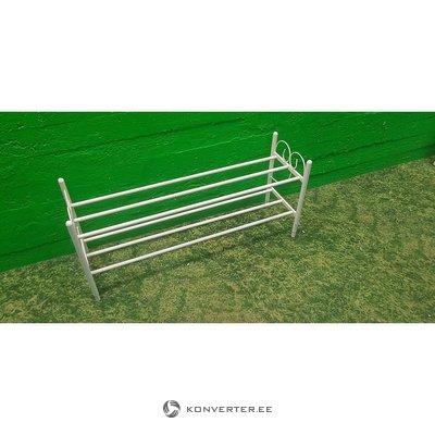 Beige metal shoe rack