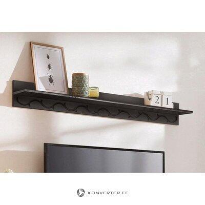 Dark brown wide solid wood wall shelf (defective., Hall sample)