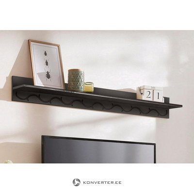 Dark brown broad solid wood wall shelf
