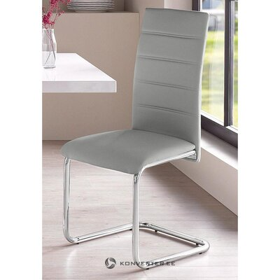 Pilka minkšta kėdė su metalinėmis kojomis (adora) (salės pavyzdys, visas)