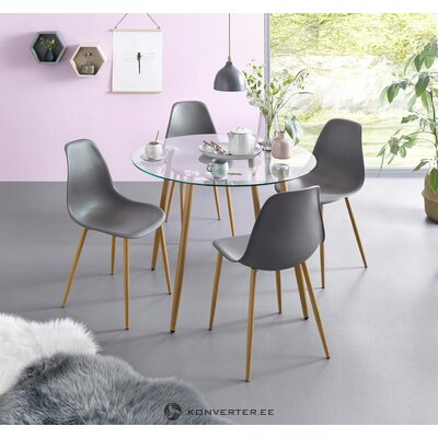 Meal set (set 5 pcs) glass table with 4 chairs (plastic frame)