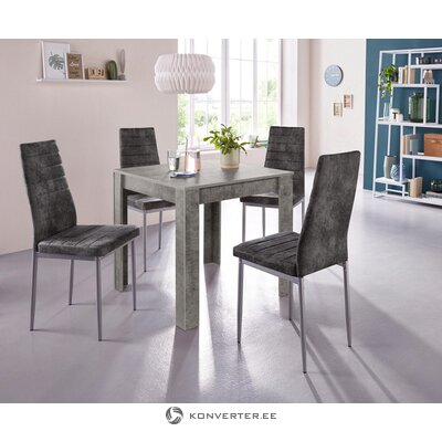 Set of gray dining table (80x80) (lynn) + 4 anthracite-gray soft chairs (cover)