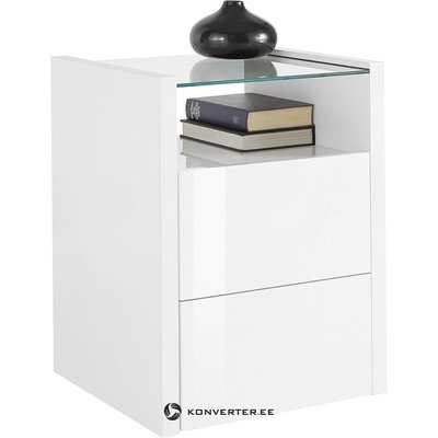 White high gloss bedside table (with beauty flaws, hall sample)