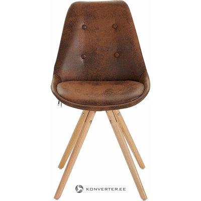 Ruskea puinen jalatuoli (viallinen)