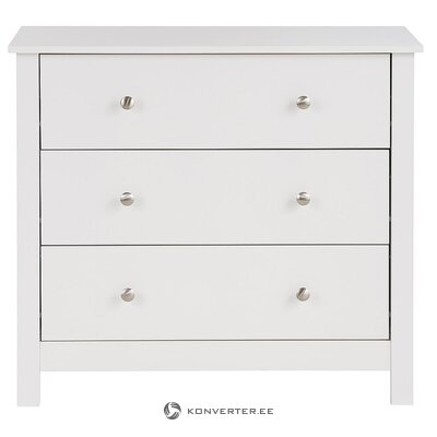 White chest of drawers with 3 drawers (justin) (beauty flaws, sample hall)
