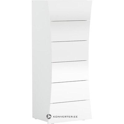 Balts spīdīgs skapis ar 6 atvilktnēm