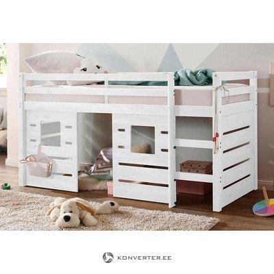 Balta medžio masyvo dviaukštė lova (1-vietė) (alpinė)