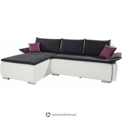 Juoda ir balta kampinė miegamoji sofa