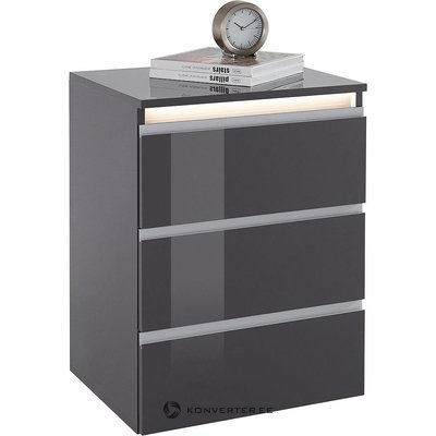Gray high gloss nightstand with lighting