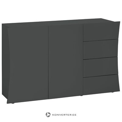 Gray high gloss wide chest of drawers (width 130cm) (with strong beauty defects, in box)