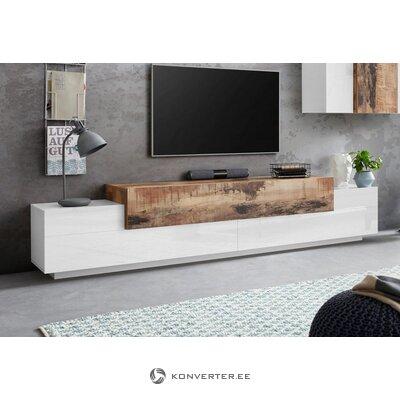 Ruda ir balta plati televizoriaus spintelė (vainikinė)