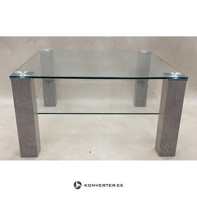 Gray glass coffee table (showcase, with bugs)
