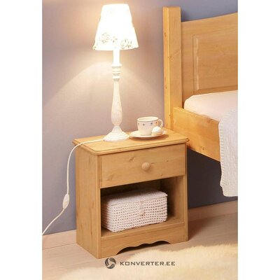 Light brown solid wood bedside table (emden)