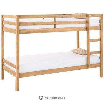 Кровать двухъярусная светло-коричневая из массива дерева (альпийская)