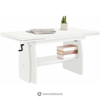 Expandable and height-adjustable coffee table (with buggy, white, showcase)