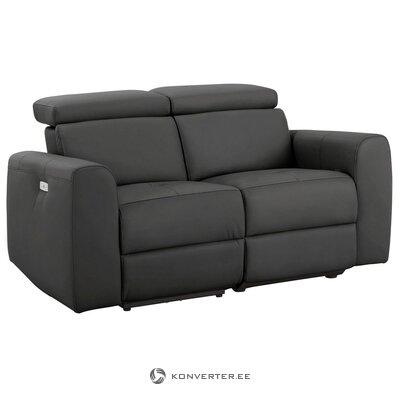Tamsiai pilka dvigulė sofa su atsipalaidavimo funkcija (sentrano)