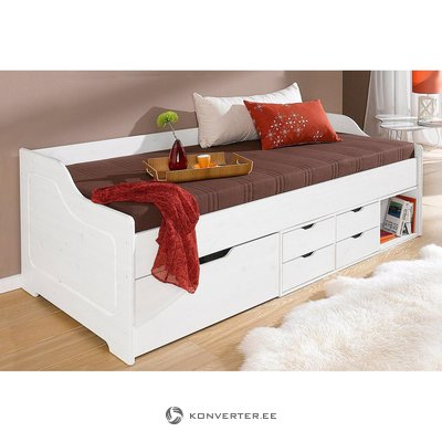 White solid wood drawers bed (90x200cm)