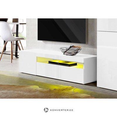 Белый глянцевый шкаф для телевизора (ширина 130см) (слева)