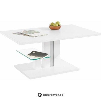 Balts kafijas galdiņš ar regulējamu augstumu (bergamo). (bojāts, zāles paraugs)