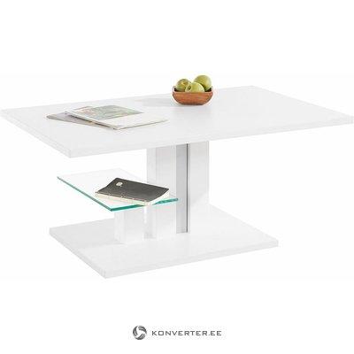 Valkoinen korkeussäädettävä sohvapöytä (bergamo) (laatikossa, kauneusvikoilla)