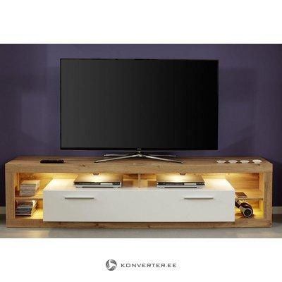 Brown & White Wide TV Closet (Rock)