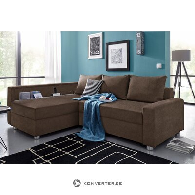 Tamsiai ruda kampinė miegamoji sofa (atsipalaiduoti) (dėžutė, visa)