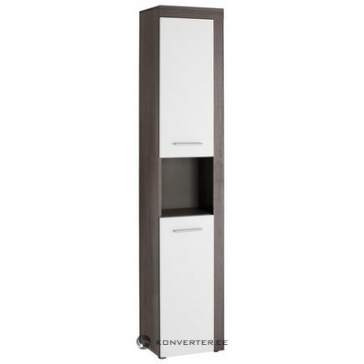 Gray-white tall cabinet with 2 doors (miami) (box, small beauty flaw)