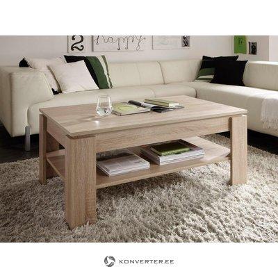 Rudas kavos staliukas su lentyna (salės pavyzdys, grožio trūkumai)