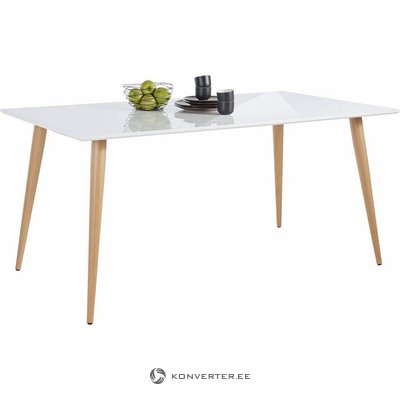 Platus blizgus pietų stalas (plotis 160cm) (su grožio trūkumais, dėžutėje)