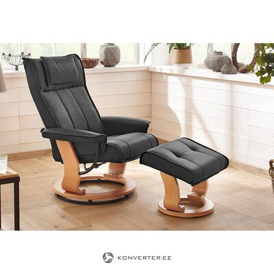 Black leather armchair (girona) (whole, in box)