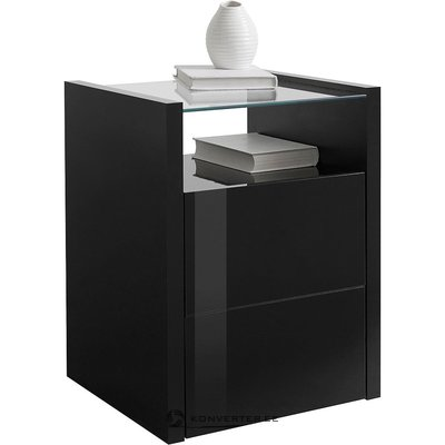 Black high gloss bedside table (whole, in box)