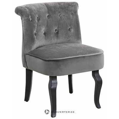 Pelēks mazs samta krēsls (neskarts zāles paraugs)