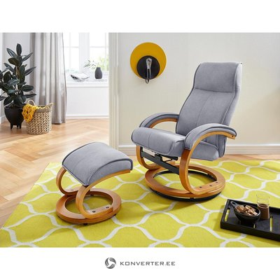 Gray swivel armchair with stool (flower)