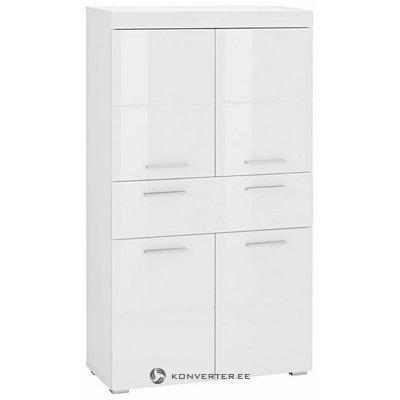 Valkoinen, kiiltävä kaappi, jossa on 1 laatikko ja 4 ovea (amanda) (koko, laatikossa)
