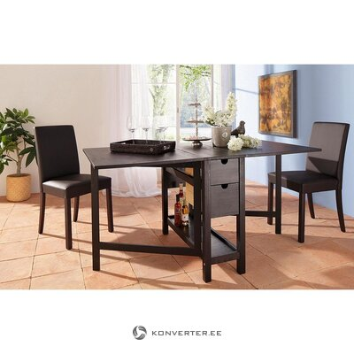Black solid wood folding dining table (lily)