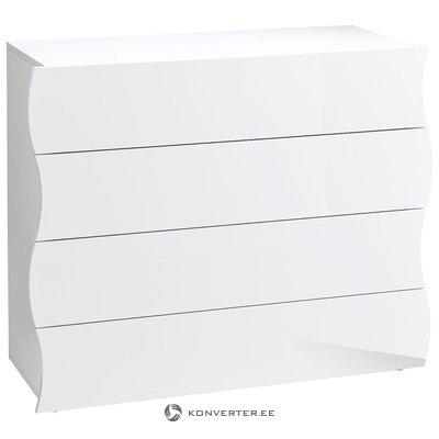 Balta, spīdīga kumode ar 4 atvilktnēm (ar skaistuma defektiem, kastē)