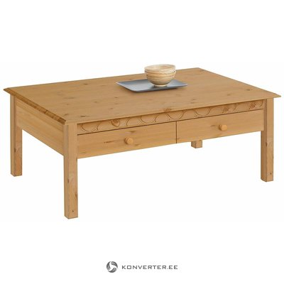 Vaaleanruskea massiivipuusta sohvapöytä (laura) (kokonainen, laatikossa)