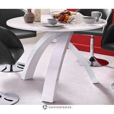 Baltas blizgus apvalus valgomasis stalas (dėžutėje, su klaidomis)