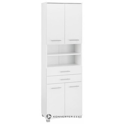 White high cupboard with 2 drawers and 4 doors (with paintings)