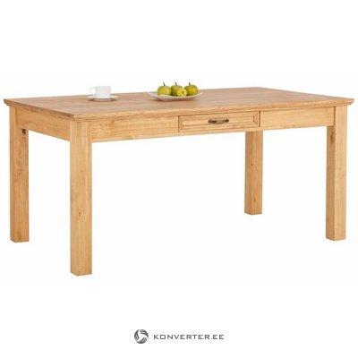 Vaaleanruskea leveä massiivipuinen ruokapöytä ja 1 laatikko (takana) (kokonainen, laatikossa)
