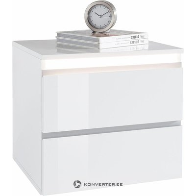 White high gloss nightstand with lighting