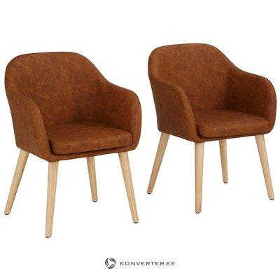 Ruskea nahkainen tuoli (kämmen) (terve, näyttävä)