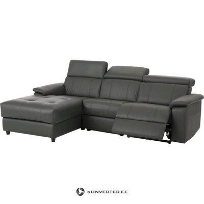 Серый кожаный угловой диван с функцией релаксации (binado)