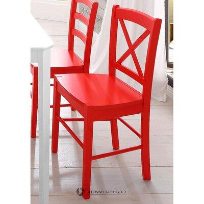 Raudona medžio masyvo kėdė (dėžutėje, visa)
